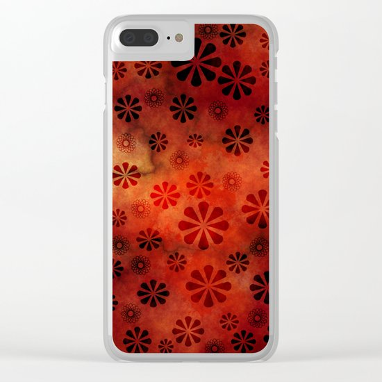 Burnt Orange Flowers Pattern Clear iPhone Case