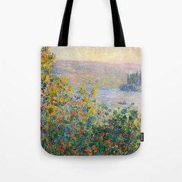 1881-Claude Monet-Flower Beds at Vétheuil-73 x 92 Tote Bag