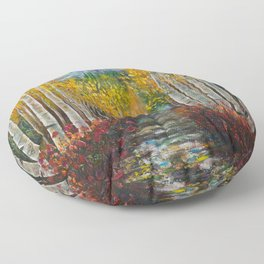 Nelly Creek painting of Uncompahgre National Forest Floor Pillow