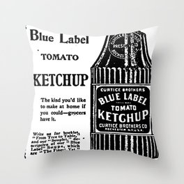 Blue Label Tomato Ketchup Throw Pillow
