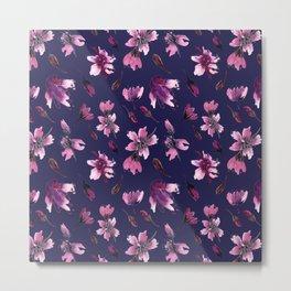 Aquarelle floral pattren blue Metal Print