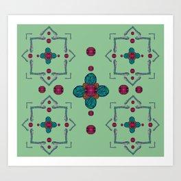 Paisley Cross Mandala Art Print