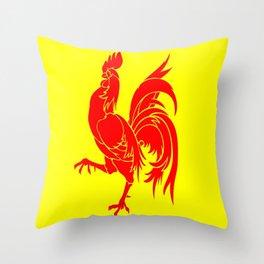 Flag of wallonia - Drapeau wallon,wallonie,Belgique,Belge,Bruxelles,France,Mons,Charleroi,coq,jaune Throw Pillow