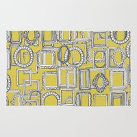frames Area & Throw Rugs featuring picture frames aplenty yellow by Sharon Turner