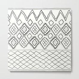 Beni Moroccan Print in Cream and Black Metal Print