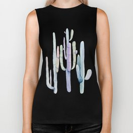 Minimalist Cactus Drawing Watercolor Painting Turquoise Cacti Biker Tank