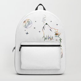 Wolf howling on moon sketch Backpack