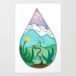 Landscape in a Raindrop Art Print