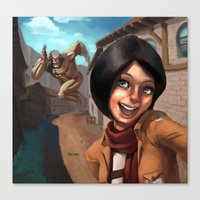 mikasa Canvas Prints featuring Mikasa Takes a Selfie! by Misterstrum