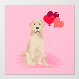 Labrador Retriever yellow lab valentines day dog breed gifts heart balloons Canvas Print