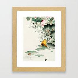 Frog in the swamp  - Vintage Japanese Woodblock Print Art Framed Art Print
