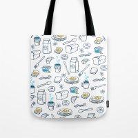 breakfast Tote Bags featuring BreakfasT by Ceren Aksu Dikenci