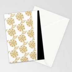Golden floral on white 2/5 Stationery Cards