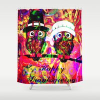 rave Shower Curtains featuring Owl make the rave-up by shiva camille