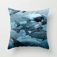 shark Throw Pillows featuring Shark by Renee Nault