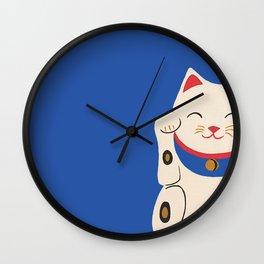 Blue Lucky Cat Maneki Neko Wall Clock