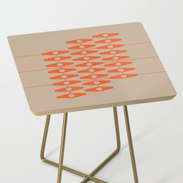 abstract eyes pattern orange tan Side Table