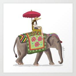 Woman on Elephant Art Print