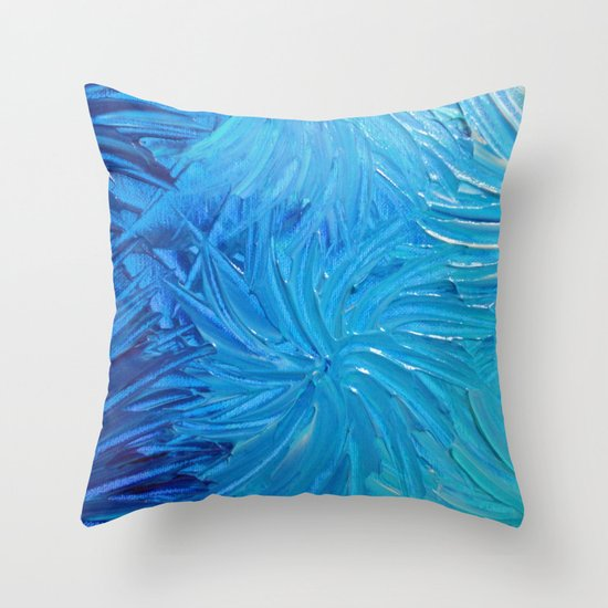 WATER FLOWERS 2 - Stunning Ocean Beach Waves Floral Abstract Acrylic Painting Turquoise Blue Navy Throw Pillow