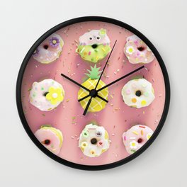Colorful Donuts Print Pink Background Wall Clock