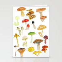 mushrooms Stationery Cards featuring Mushrooms by Lara Paulussen