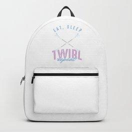 Twirling Spinning Gymnastics Gymnasts Eat Sleep Twirl Repeat Baton Gift Backpack