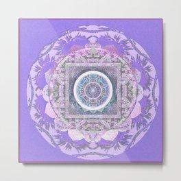 Lavender Gentleness & Poise Boho Vintage Mandala Metal Print
