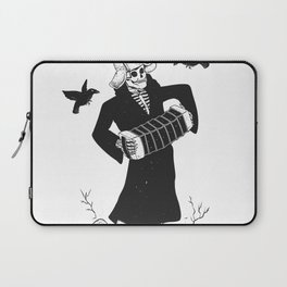 Grim reaper with accordion  - skull musician - black and white Laptop Sleeve