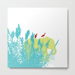 Pastel Symbiosis between Elephant and Bird Metal Print