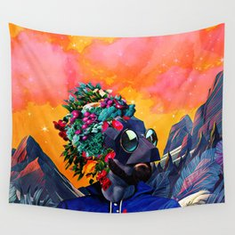 Crazy man in the mountains Wall Tapestry