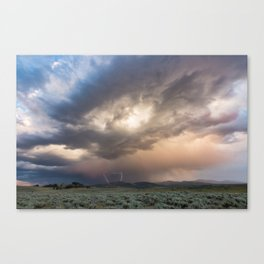 Yellowstone National Park - Sunset storm over the Washburn Range Canvas Print