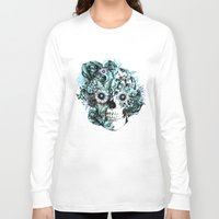 ohm Long Sleeve T-shirts featuring Blue grunge ohm skull by Kristy Patterson Design