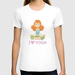 Cute Yoga Girl Sitting in Lotus Pose T-shirt