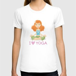 Cute Yoga Girl Sitting in Lotus Pose T-shirt