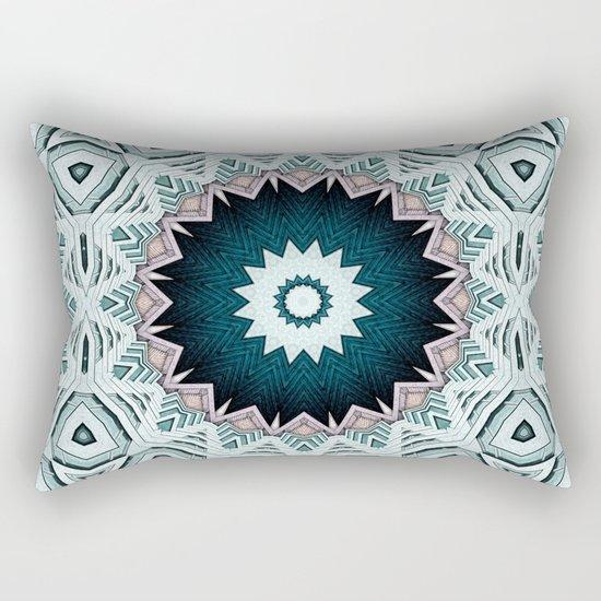 Blue Green Buildings Mandala Rectangular Pillow