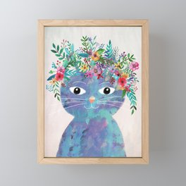 Flower cat II Framed Mini Art Print
