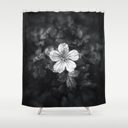 Minimalistic black and white flower petal Shower Curtain
