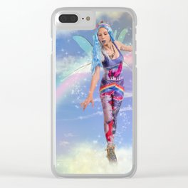 Trippy fairy walking on clouds Clear iPhone Case