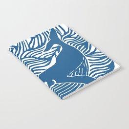 Japan Sea Whale Art Lino Notebook