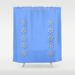 Five Unique Snowflakes in a Row on Sky Blue Background Shower Curtain
