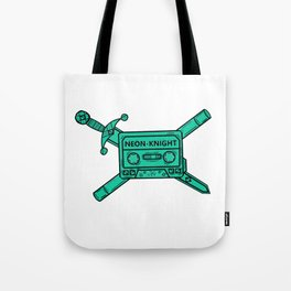 Neon Knight Cyan Cassette and Sword Crest Tote Bag