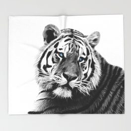 Black and white fractal tiger Throw Blanket