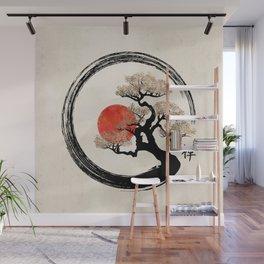 Enso Circle and Bonsai Tree on Canvas Wall Mural