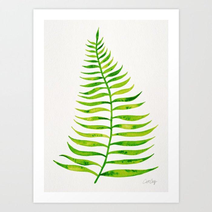 Lime Palm Leaf Art Print By Catcoq Society6