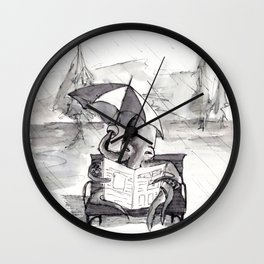 an octopus that walks on land part1 reading a newspaper in the rain Wall Clock