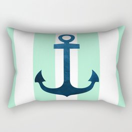 Anchor on Mint Stripes Rectangular Pillow