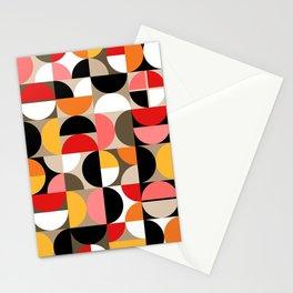 Mid Century Geometric Pattern // Dark Brown, Coral, Pink, Marigold Yellow, Red, Orange, Taupe, White // Geo Art Stationery Cards