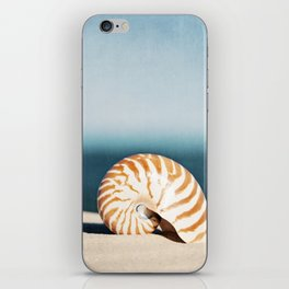 Seashell on Beach Photography, Nautilus Shell Coastal Photograph, Blue Orange Beach Landscape iPhone Skin