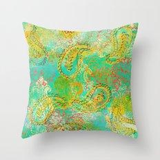 Paisleys and Blooms Throw Pillow