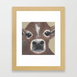 Original Painting - Farmyard Friends - Calf - Cute cow painting Framed Art Print